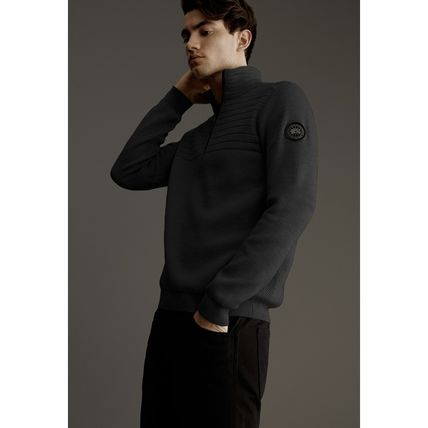 CANADA GOOSE Sweaters Wool Long Sleeves Plain Logos on the Sleeves Logo Sweaters 4