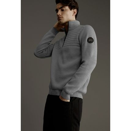 CANADA GOOSE Sweaters Wool Long Sleeves Plain Logos on the Sleeves Logo Sweaters 10
