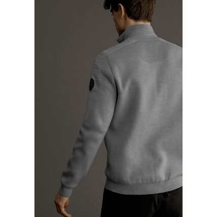 CANADA GOOSE Sweaters Wool Long Sleeves Plain Logos on the Sleeves Logo Sweaters 11