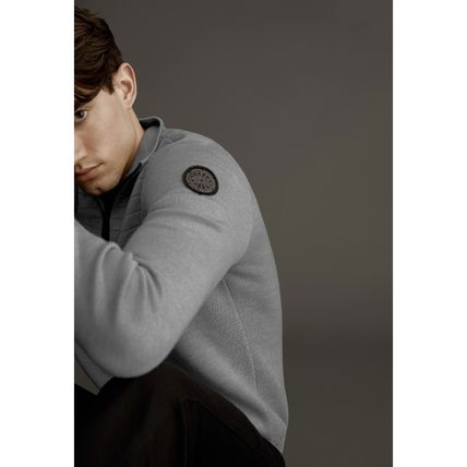 CANADA GOOSE Sweaters Wool Long Sleeves Plain Logos on the Sleeves Logo Sweaters 12