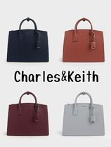 Charles&Keith Casual Style Faux Fur A4 Plain Office Style Totes