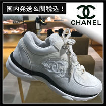 CHANEL Casual Style Suede Tweed Blended Fabrics Low-Top Sneakers