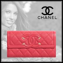 CHANEL Other Plaid Patterns Plain Front Button Long Wallets