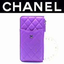 CHANEL MATELASSE Street Style Plain Leather Handmade Smart Phone Cases