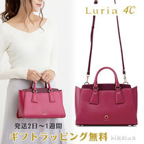 4℃ Casual Style 2WAY Plain Leather With Jewels Office Style