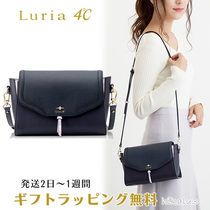 4℃ Plain Leather With Jewels Elegant Style Shoulder Bags