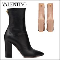 VALENTINO Casual Style Plain Leather Block Heels Office Style
