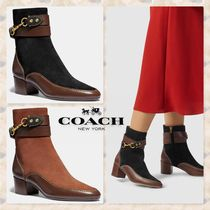 Coach Plain Leather Elegant Style Ankle & Booties Boots