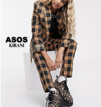 Tartan Casual Style Long Sleeves Office Style Dresses