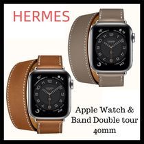 HERMES Casual Style Unisex Blended Fabrics Leather Square Stainless