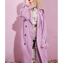 ELF SACK Stand Collar Coats Casual Style Suede Street Style Plain