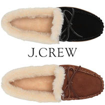 J Crew Moccasin Round Toe Casual Style Unisex Suede Street Style