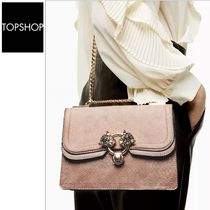 TOPSHOP Casual Style Faux Fur Street Style With Jewels Shoulder Bags