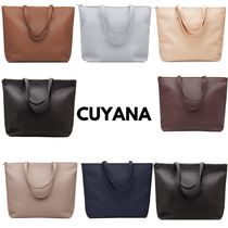 CUYANA Casual Style Unisex A4 Plain Leather Handmade Office Style