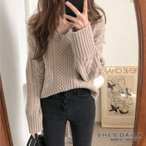 Cable Knit Casual Style Wool Nylon V-Neck Long Sleeves