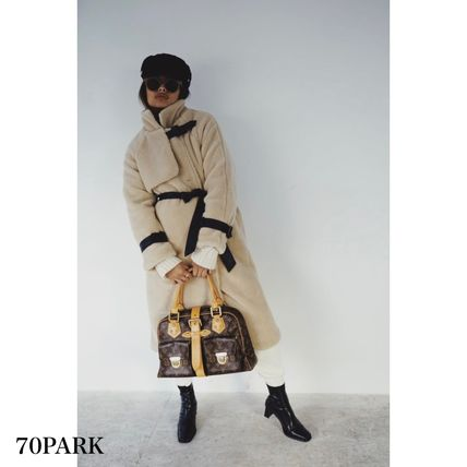 Plain Long Shearling Coats