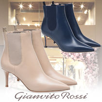 Gianvito Rossi Plain Toe Casual Style Plain Leather Pin Heels Party Style