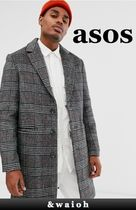 ASOS Other Check Patterns Wool Long Chester Coats