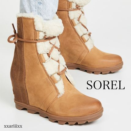 Wedge Round Toe Lace-up Suede Plain Leather Shearling
