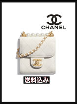 CHANEL ICON Casual Style Blended Fabrics Plain Leather Elegant Style