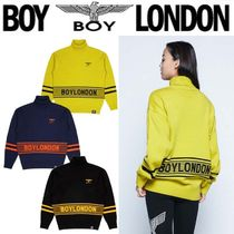 BOY LONDON Stripes Casual Style Unisex Street Style Long Sleeves Plain