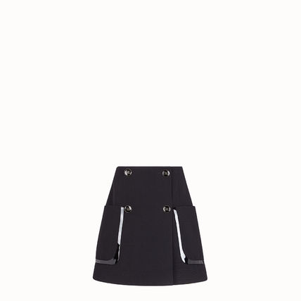 FENDI Short Wool Leather Mini Skirts
