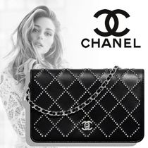 CHANEL CHAIN WALLET Casual Style Unisex Lambskin Blended Fabrics Street Style
