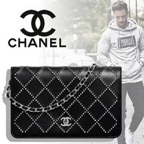 CHANEL CHAIN WALLET Unisex Lambskin Blended Fabrics Street Style 2WAY Chain