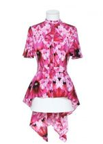 alexander mcqueen Flower Patterns Silk Medium Short Sleeves Elegant Style