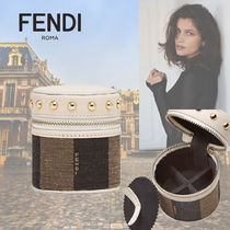 FENDI Stripes Calfskin Studded Pouches & Cosmetic Bags