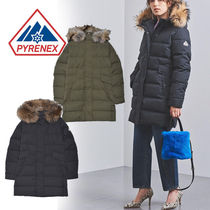 PYRENEX GRENOBLE Street Style Plain Long Oversized Khaki Down Jackets