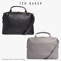TED BAKER Casual Style Unisex A4 2WAY Plain Leather Elegant Style