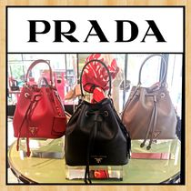 PRADA SAFFIANO LUX Casual Style 2WAY Plain Leather Party Style Office Style