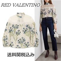 RED VALENTINO Flower Patterns Silk Long Sleeves Elegant Style