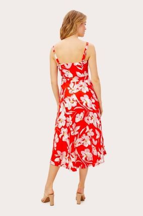 Flower Patterns Casual Style Sleeveless Medium Party Style
