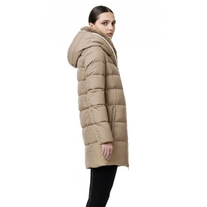 Nylon Fur Plain Medium Down Jackets