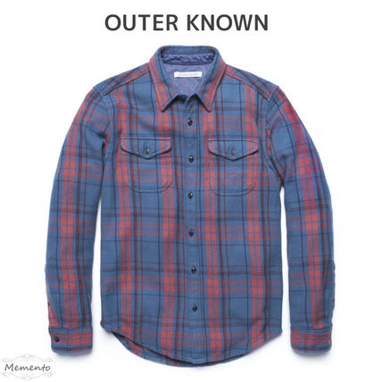 Button-down Other Plaid Patterns Unisex Long Sleeves Cotton