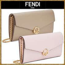 FENDI Chain Leather Long Wallets