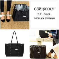 CUB+SCOUT Gingham Casual Style A4 2WAY Plain Totes
