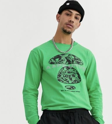 A BATHING APE Long Sleeve Crew Neck Pullovers Street Style Long Sleeves Cotton 2