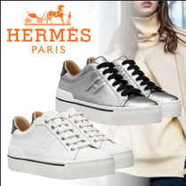 HERMES Plain Toe Rubber Sole Lace-up Casual Style Plain Logo