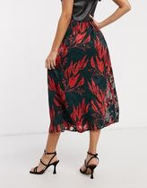 YAS Flower Patterns Casual Style Medium Party Style Midi Skirts