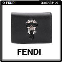FENDI Leather With Jewels Folding Wallets
