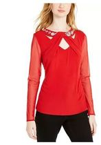 INC International Concepts Casual Style Chiffon Long Sleeves Party Style With Jewels