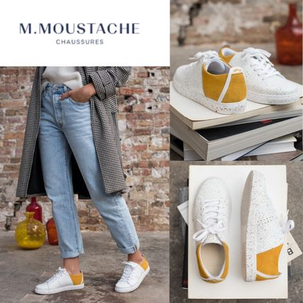 M. MOUSTACHE Low-Top Rubber Sole Casual Style Suede Leather Elegant Style Logo