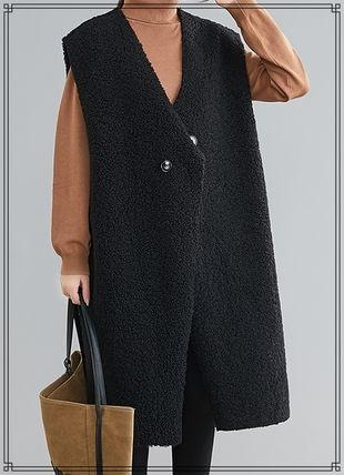 Casual Style Plain Long Oversized Shearling Vests
