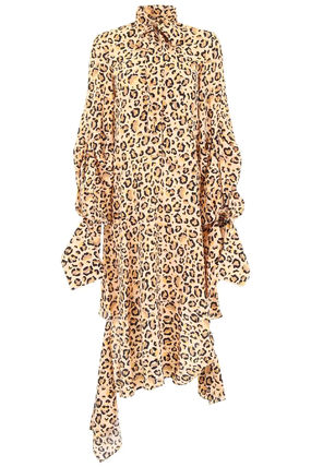 Leopard Patterns Silk Flared Long Sleeves Medium High-Neck