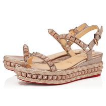 Christian Louboutin Open Toe Casual Style Studded Street Style Party Style