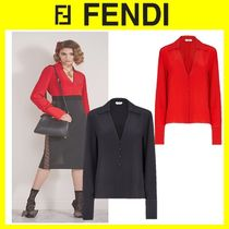 FENDI Casual Style Silk Long Sleeves Plain Party Style