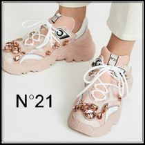 N21 numero ventuno Round Toe Rubber Sole Leather With Jewels Elegant Style